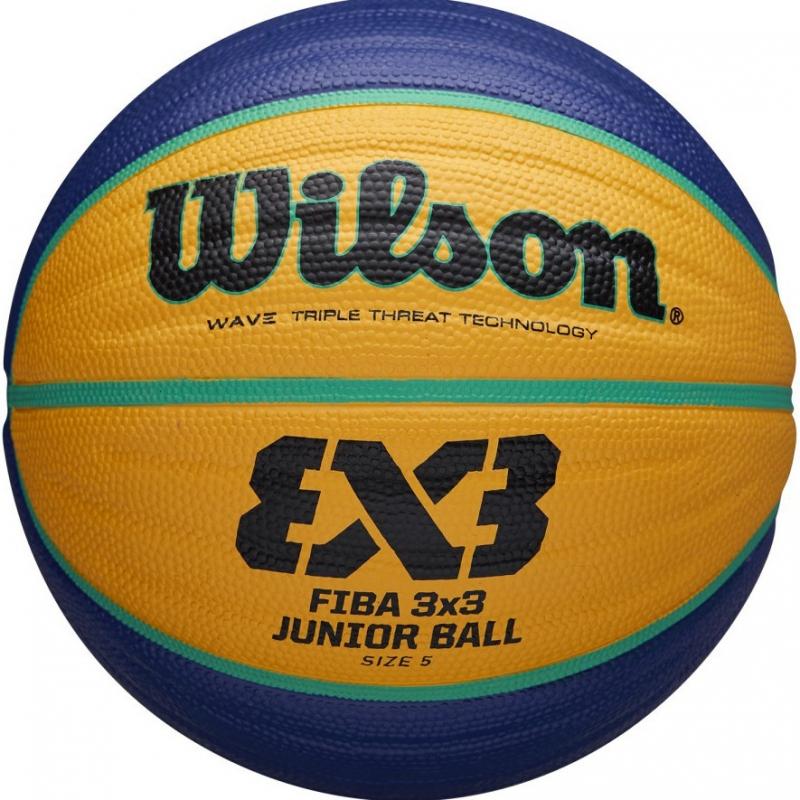 Мяч баскетбольный WILSON FIBA3x3 Replica, арт.WTB1133XB, р.5, резина, бутиловая камера , сине-желтый