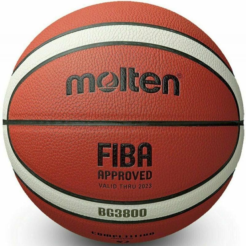 Мяч баскетбольный  MOLTEN B5G3800 р.5, FIBA Appr, синт.комп.кожа (ПУ),12 пан,бутиловая камера ,нейл.корд,кор-беж-чер