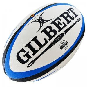 Мяч для регби GILBERT Omega , арт.41027005, р. 5, резина, ручная сшивка, бело-сине-черный