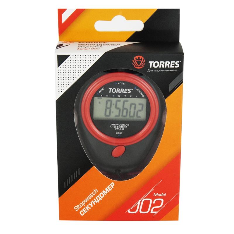 Секундомер TORRES Stopwatch , арт.SW-002, часы, будильник, дата, шнур с карабином, черно-красн. NEW