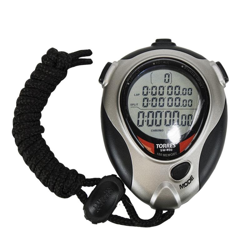 Секундомер профессиональный  TORRES Professional Stopwatch ,арт.SW-100,100 яч.пам.,таймер,метроном,сер-чер. NEW