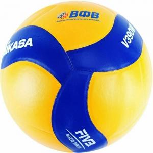 Мяч волейбольный  MIKASA V390W , р.5, синтетическая кожа (ПУ), 18 пан., оф. парам. FIVB,клееный, бутиловая камера , желто-синий