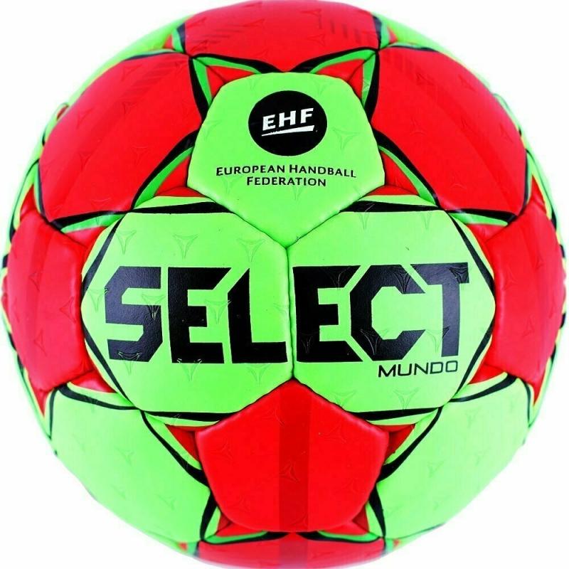 Мяч гандбольный  SELECT Mundo арт. 846211-443, Senior (р.3), EHF,мат.ПУ,руч.сш, зел-красн-черн