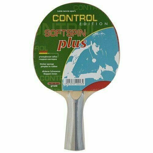 Ракетка для настольного тенниса Butterfly Softspin Plus, для начинающих, накладка 1,8 мм, конич. ручка