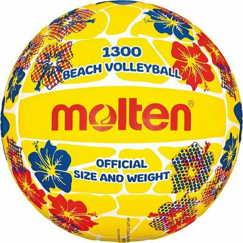 Мяч для пляжного волейбола  MOLTEN V5B1300-FY р.5, мат. синтетическая кожа ПВХ, маш.сш, бутиловая камера ,желто-красн-бел-синий
