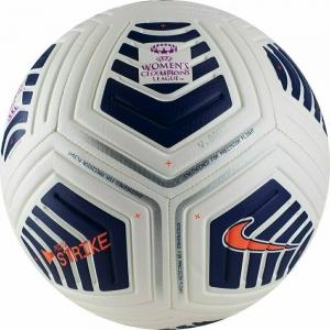Мяч футбольный  NIKE UEFA Women's CL Strike арт.CW7225-100,р.5, 12п, мат.ТПУ,маш.сш, бело-черно-оранж