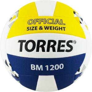 Мяч волейбольный  TORRES BM1200 арт.V42035, р.5, синтетическая кожа (микрофибра), клееный, бутиловая камера , бел-син-желт