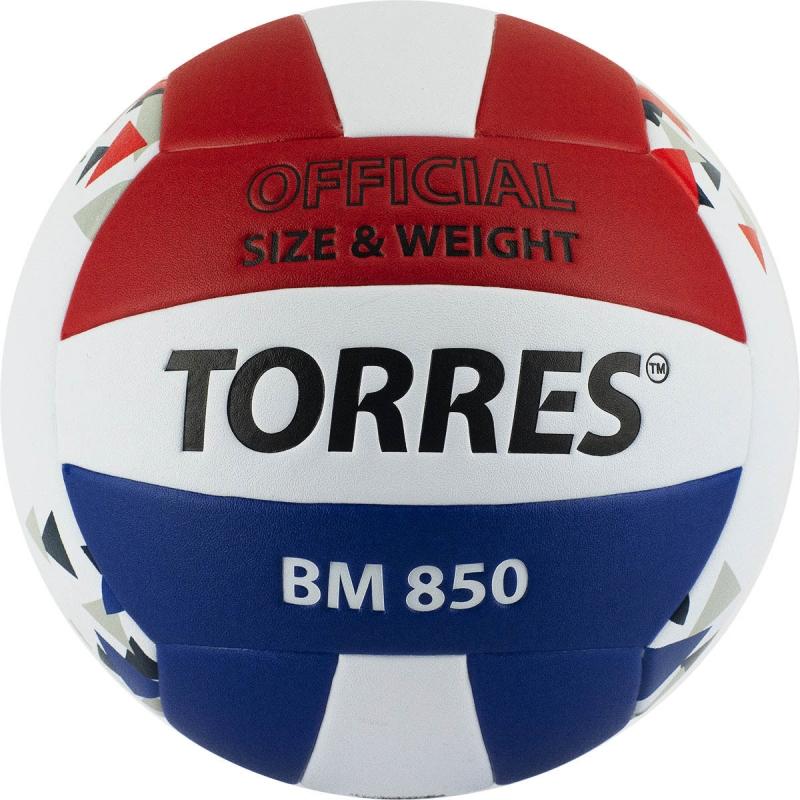 Мяч волейбольный  TORRES BM850 арт.V32025, р.5, синт. кожа (ПУ), клееный, бут. кам., бел-син-крас