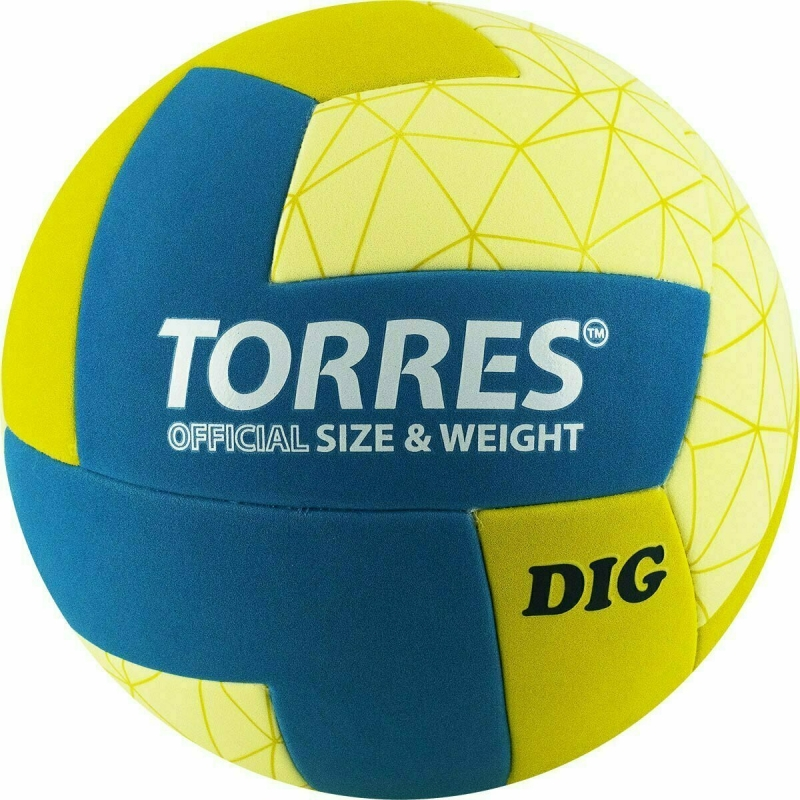 Мяч волейбольный  TORRES Dig арт. V22145, р.5, синтетическая кожа (ТПЕ), клееный, бутиловая камера , горчично-бирюзово-бежевый