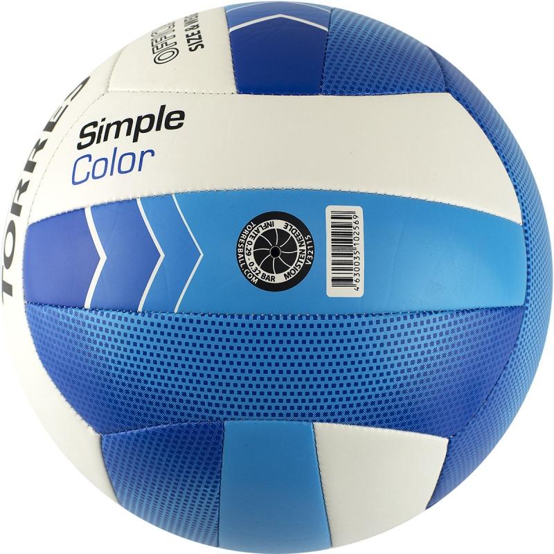Мяч волейбольный  TORRES Simple Color арт.V32115, р.5, синтетическая кожа (ТПУ), маш. сшивка, бутиловая камера ,бел-гол-син