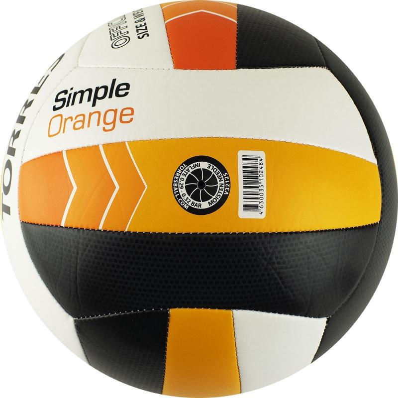 Мяч волейбольный  TORRES Simple Orange арт.V32125, р.5, синтетическая кожа (ТПУ), маш. сшивка, бутиловая камера ,бел-гол-оранж