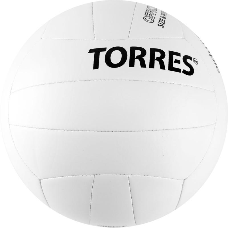 Мяч волейбольный  TORRES Simple арт.V32105, р.5, синтетическая кожа (ТПУ), маш. сшивка, бут. камера, бело-черный
