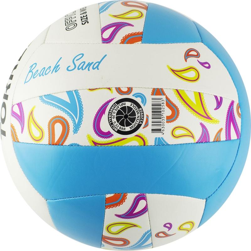 Мяч для пляжного волейбола  TORRES Beach Sand Blue арт.V32095B, р.5, синтетическая кожа (ТПУ),маш.сш,бут.к,бел-голуб