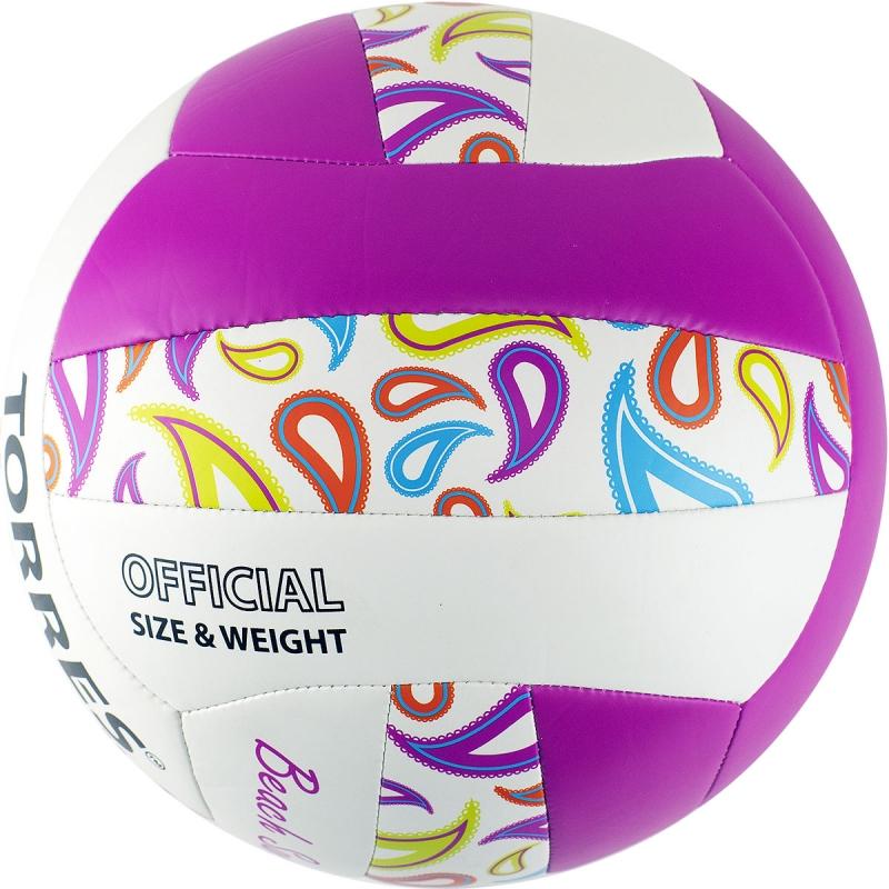 Мяч для пляжного волейбола  TORRES Beach Sand Pink арт.V32085B, р.5, синтетическая кожа (ТПУ),маш.сш,бутиловая камера ,бел-роз