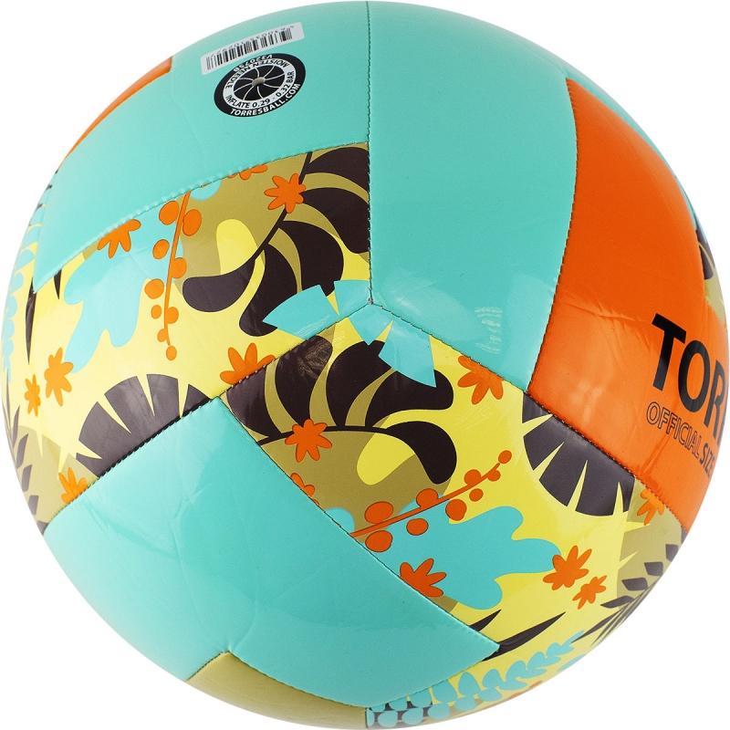 Мяч для пляжного волейбола  TORRES Hawaii арт.V32075B, р.5, синтетическая кожа (ТПУ), маш. сш, бутиловая камера , бирюзово-оранже