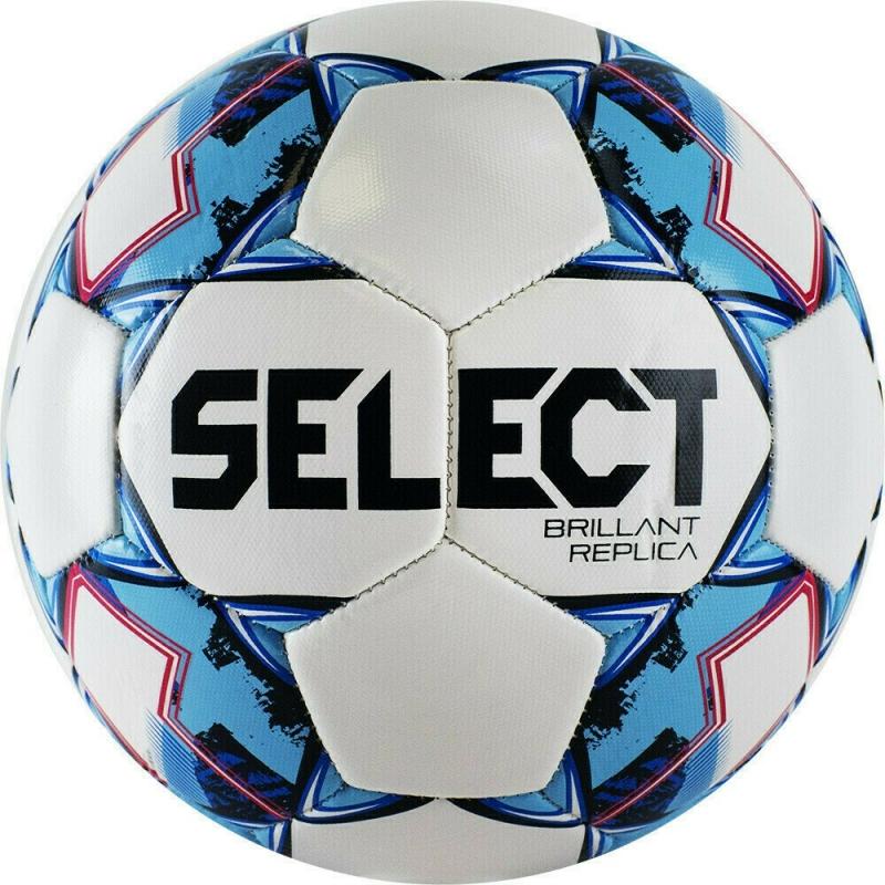 Мяч футбольный  SELECT Brillant Replica арт.811608-102, р.4, 32пан, гл.ПВХ, маш.сш, бело-голубой
