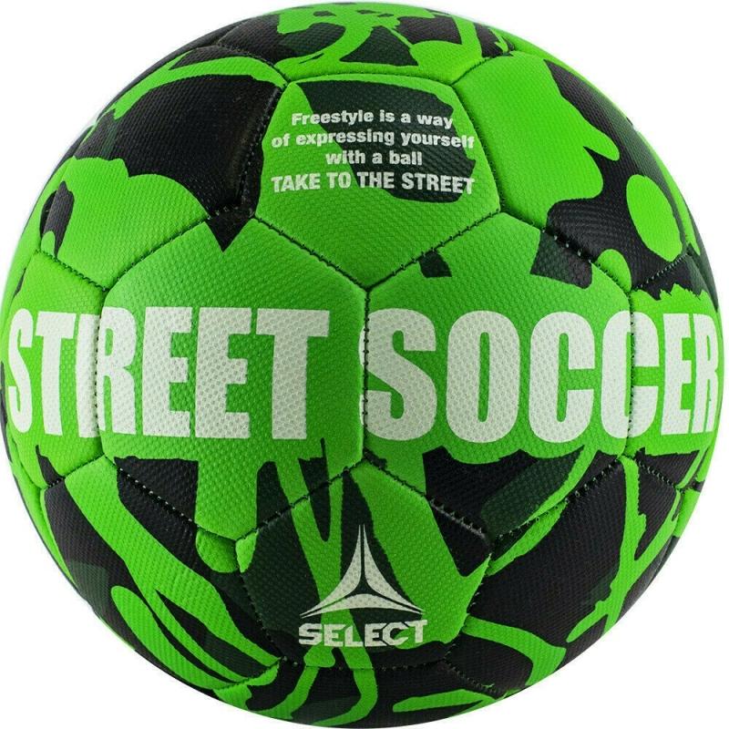 Мяч футбольный  SELECT Street Soccer арт. 813120-444, р.5, 28пан., резина, машинная сшивка , лат.камера, зел-черн