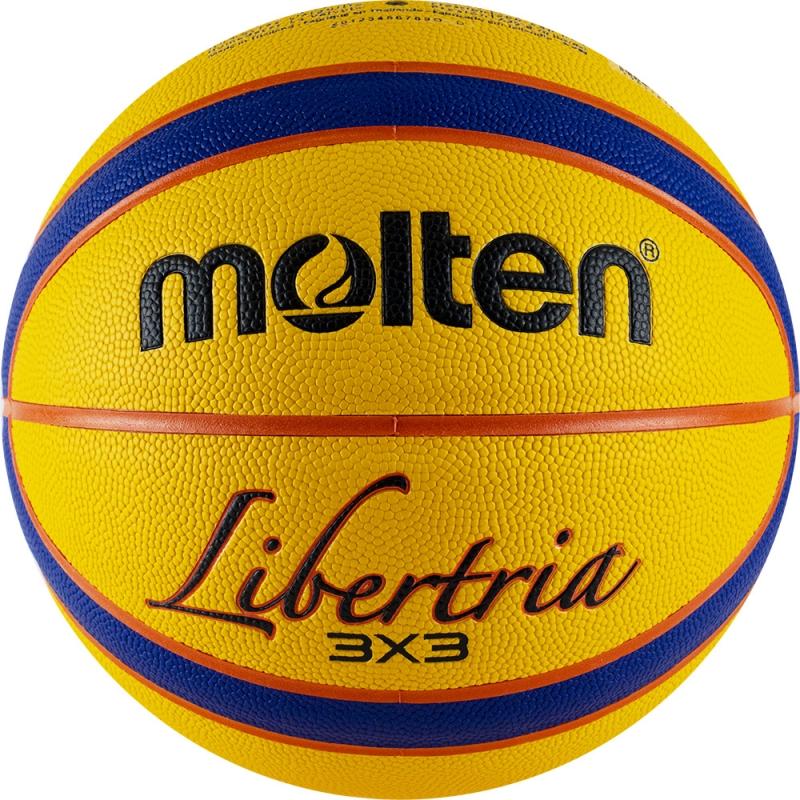 Мяч баскетбольный  MOLTEN B33T5000 р. 6, FIBA Appr, 12пан, композит.кожа (ПУ),бутиловая камера ,нейл.корд,желто-синий