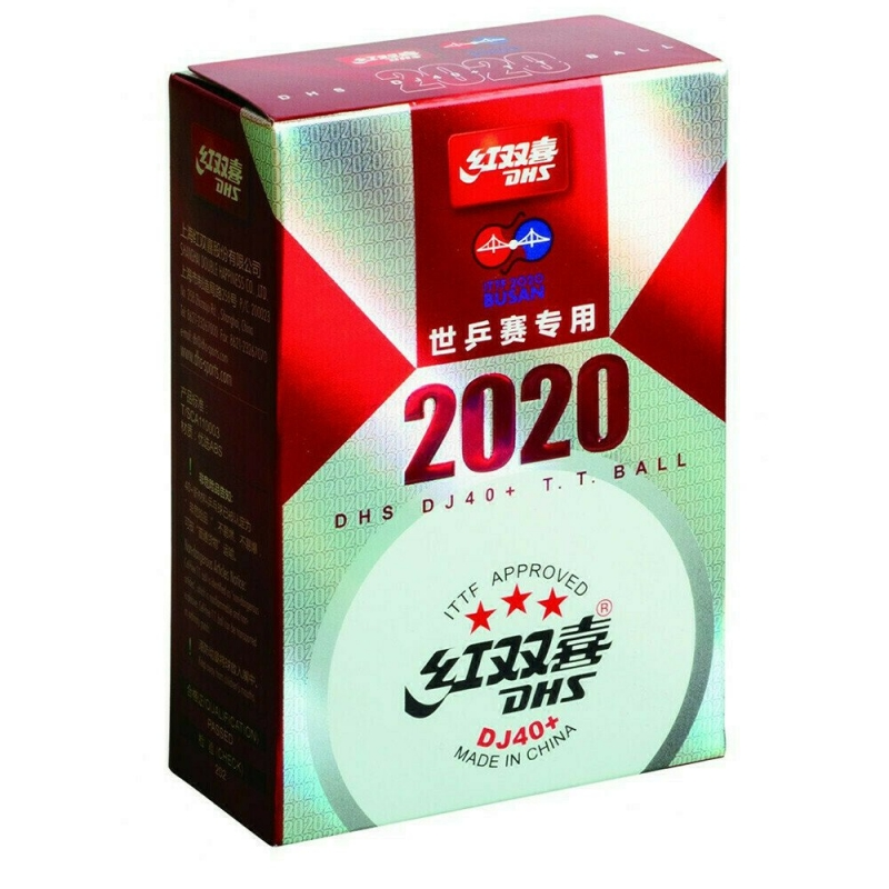 Мяч для настольного тенниса DHS 3*** Busan, арт. DJ40W, диам.40+, пластик, ITTF Appr., упак. 6 шт, белый