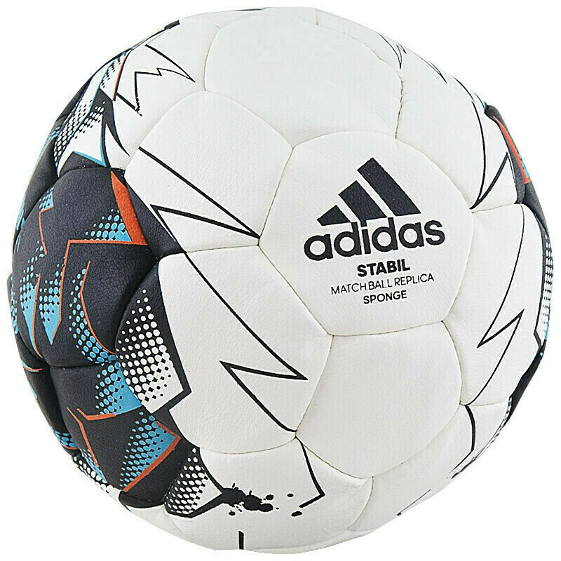 Мяч гандбольный  ADIDAS Stabil Sponge арт.CD8591, р.0 (mini), ПУ, 30 панелей, руч.сш, бело-черн-бир-оранж