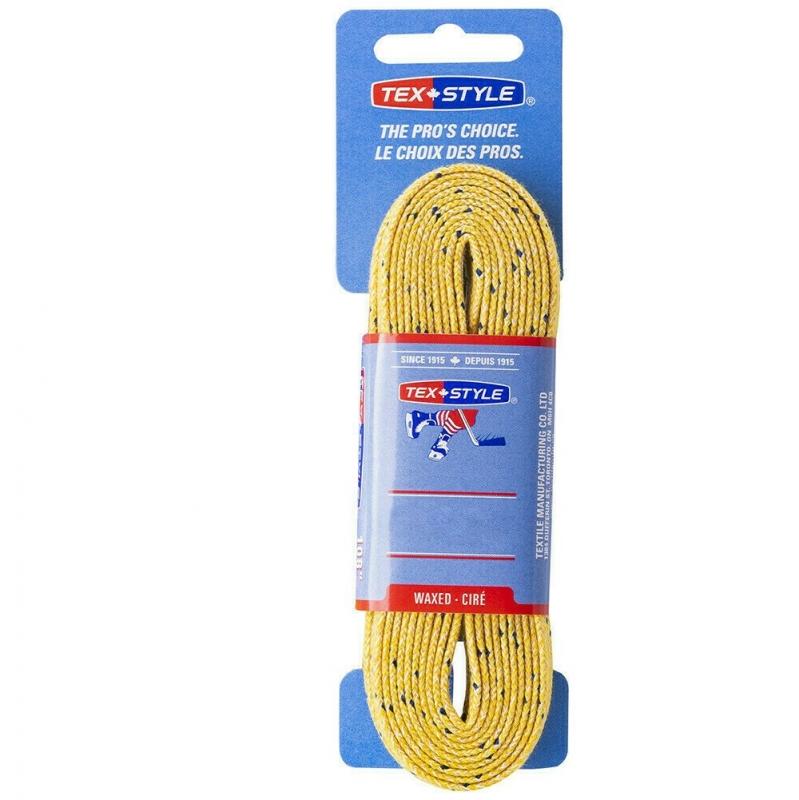 Шнурки для коньков Texstyle Double Blue Line Waxed арт.1510MT-YL-305, полиэстер, 305см, желтый WARRIOR