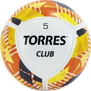 Мяч футбольный  TORRES Club арт.F320035, р.5, 10 панели. PU, гибрид. сшив, беж-оранж-сер