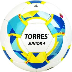 Мяч футбольный  TORRES Junior-4 арт.F320234, р.4, вес 310-330 г,глянц.ПУ, 3 сл, 32п, руч.сш, бел-жел-гол
