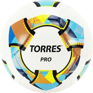 Мяч футбольный  TORRES Pro арт.F320015, р.5, 14 панел. PU, 4 подкл. слоя, ручная сшивка, бело-золот-черн