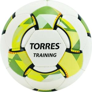 Мяч футбольный  TORRES Training ,арт.F320054,р.4, 32 панели. PU, 4 под. слоя, ручная сшивка, бело-зел-сер