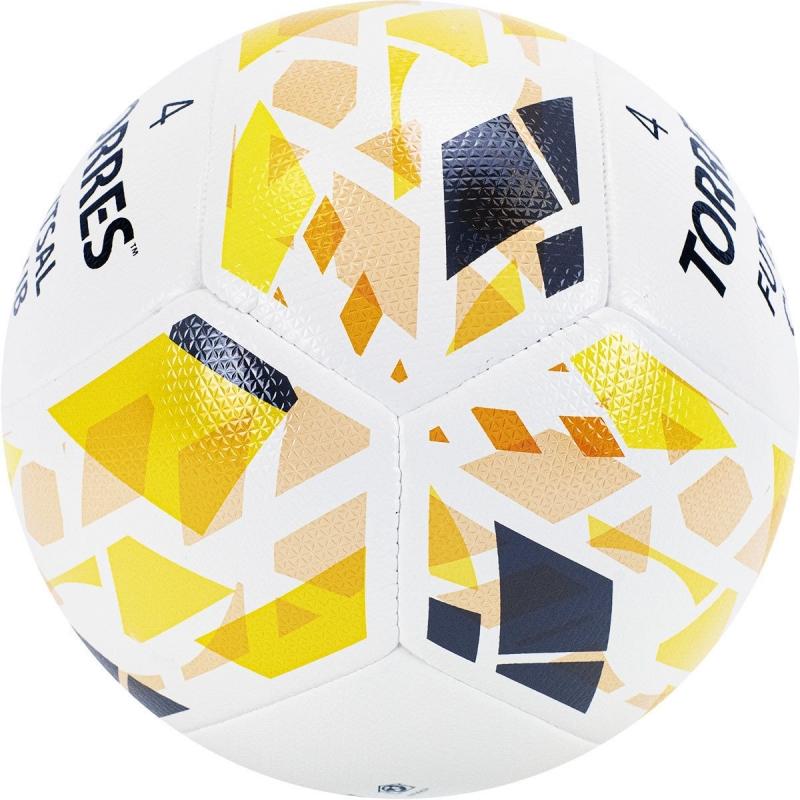 Мяч футзальный TORRES Futsal Club , арт.FS32084, р.4, 10 пан. PU, 4 под. сл, гибрид. сш. бело-зол-чер