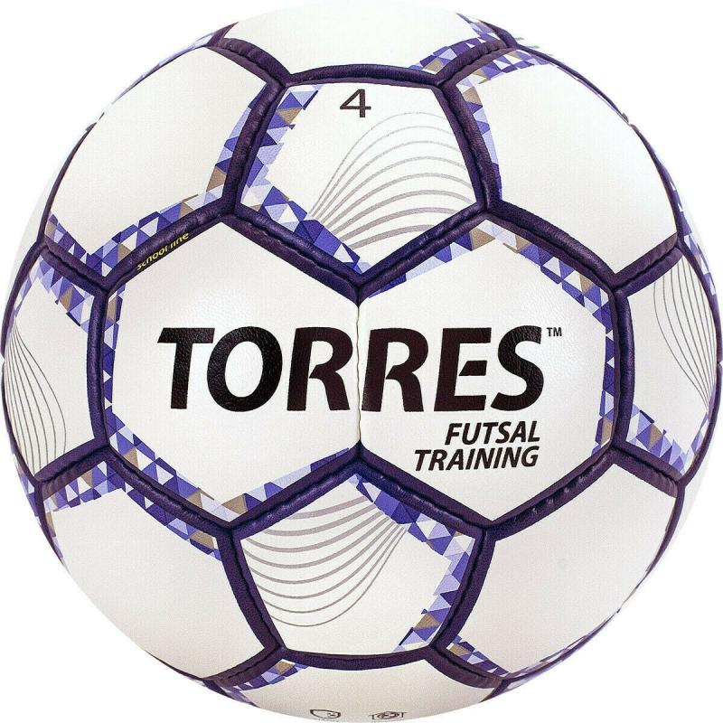 Мяч футзальный TORRES Futsal Training арт.FS32044, р.4, 32 пан. PU, 4 подкл. слоя, бело-фиолет-черн