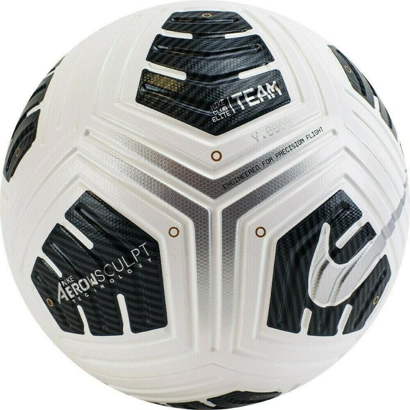 Мяч футбольный  NIKE Club Elite Team арт.CU8053-100, р.5, 4пан, ПУ, FIFA PRO, термосш, бело-черно-серебр