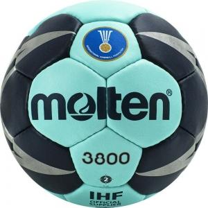 Мяч гандбольный  MOLTEN 3800 , арт. H2X3800-CN, р.2, мат.ПУ,32 пан, руч.сш, бирюзово-т.синий