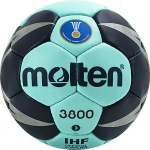 Мяч гандбольный  MOLTEN 3800 , арт. H3X3800-CN, р.3, мат.ПУ,32 пан, руч.сш, бирюзово-т.синий