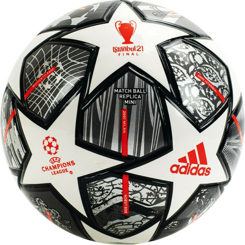Мяч футбольный сув. ADIDAS Finale Mini арт. GK3479, р.1, 32 пан., ПУ, термосш., бело-серо-красный