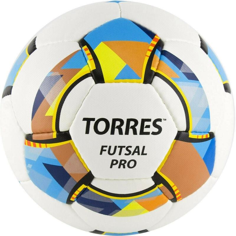 Мяч футзальный TORRES Futsal Pro , арт.FS32024, р.4, 32 п. Micro, 4 подкл. сл, руч. сшив. бело-мультик