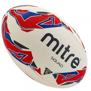 Мяч для регби MITRE SQUAD арт. BB1152WP4, р.5, резина, вес 350 г., бело-сине-красный