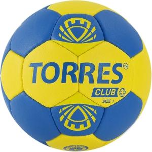 Мяч гандбольный  TORRES Club арт.H32141, р.1, ПУ, 5 подкл. слоев, сине-желтый