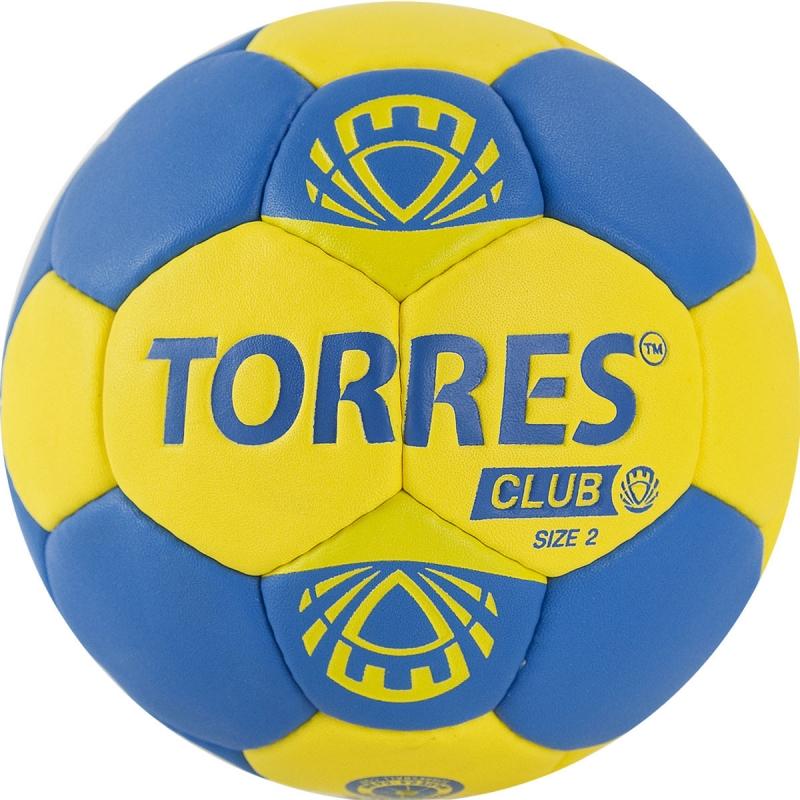 Мяч гандбольный  TORRES Club арт.H32142, р.2, ПУ, 5 подкл. слоев, сине-желтый