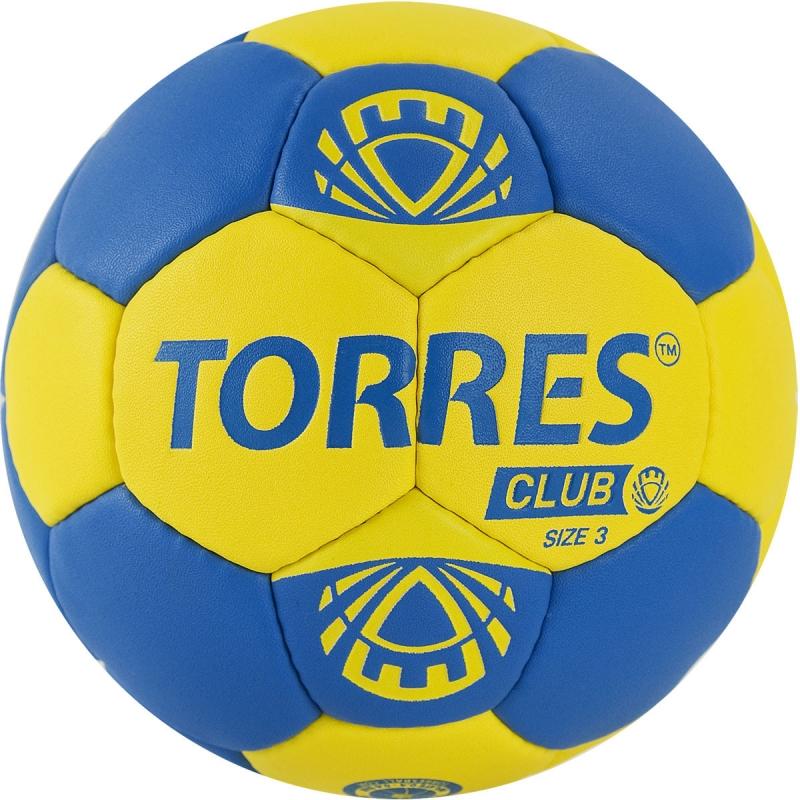 Мяч гандбольный  TORRES Club арт.H32143, р.3, ПУ, 5 подкл. слоев, сине-желтый