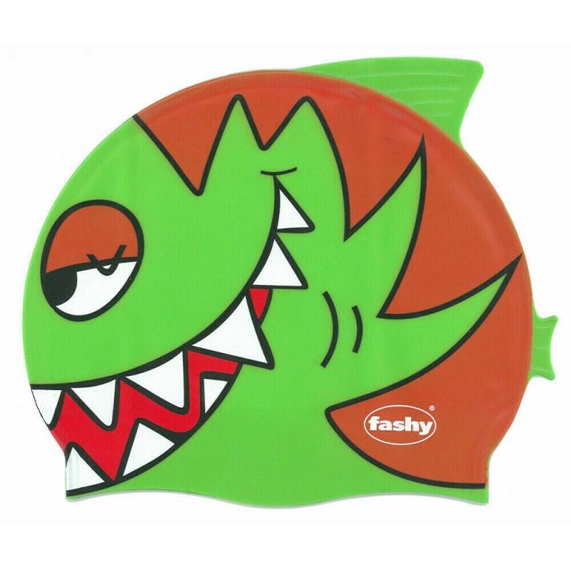 Шапочка для плавания детская  FASHY Childrens Silicone Cap , арт.3048-00-63, силикон, зелено-оранжевый
