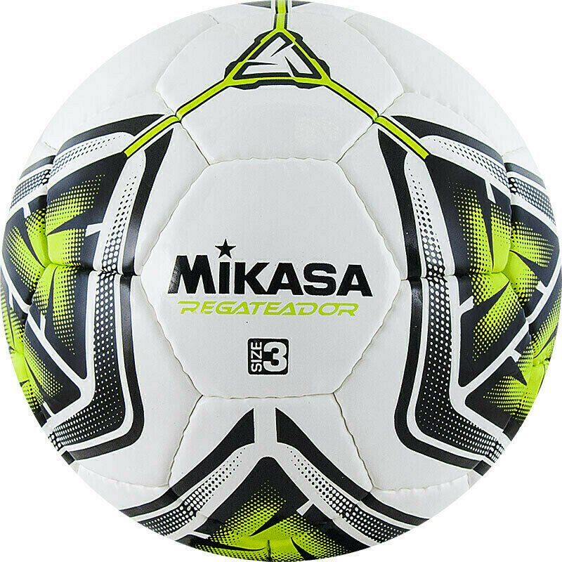 Мяч футбольный  MIKASA REGATEADOR3-G , р.3, 32пан, гл. ПВХ, руч.сш, лат.кам, бело-черн-зеленый