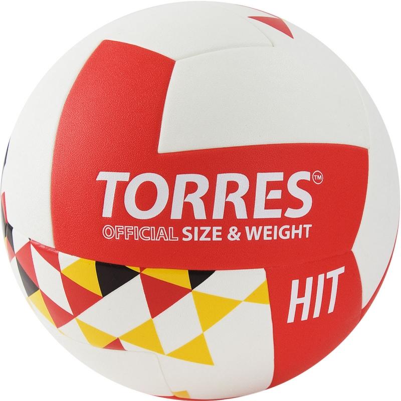 Мяч волейбольный  TORRES Hit арт.V32055 р.5, синтетическая кожа (ПУ), клееный, бутиловая камера , бело-красно-мультколор