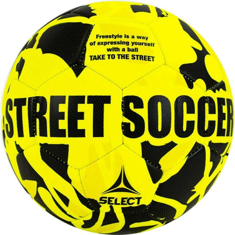 Мяч футбольный  SELECT Street Soccer арт. 813120-555, р.5, 32пан., резина, машинная сшивка , лат.камера, жел-черн