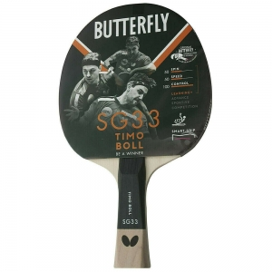 Ракетка для настольного тенниса Butterfly Timo Boll SG33, для начинающих, накладка 1,5 мм ITTF, анатом./кон. ручка