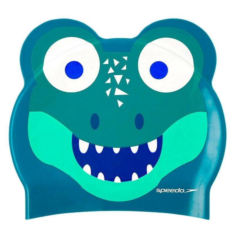 Шапочка для плавания детская  SPEEDO Printed Character Croc Jr , арт.8-12240D680, СИНИЙ/ЗЕЛЕНЫЙ, силикон