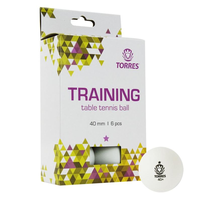Мяч для настольного тенниса TORRES Training 1*, арт. TT21016, диам. 40+ мм, упак. 6 шт, белый