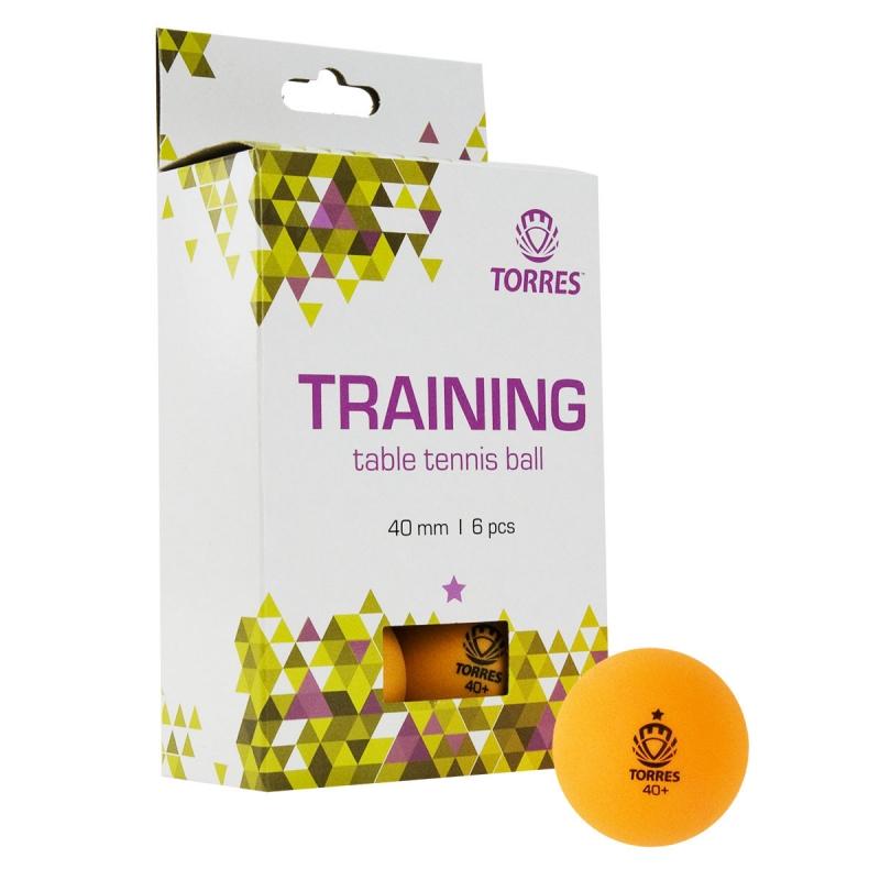 Мяч для настольного тенниса TORRES Training 1*, арт. TT21015, диам. 40+ мм, упак. 6 шт, оранж