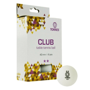 Мяч для настольного тенниса TORRES Club 2*, арт. TT21014, диам. 40+мм, упак. 6 шт, белый
