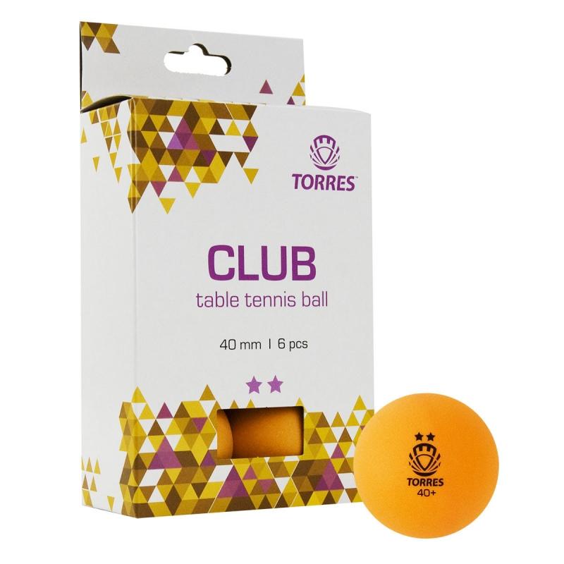 Мяч для настольного тенниса TORRES Club 2*,арт. TT21013, диам. 40+ мм, упак. 6 шт, оранжевый